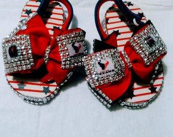 Girls Texans inspired sandals/flip flops