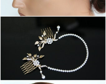 Wedding Forehead Band Bridal Head Chain Pearl Halo Headpiece Matt Gold Leaves Bridal Hair Accessory ASHER