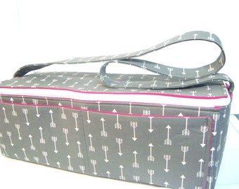 Super Large 6 inch Depth Double Wide Fabric Coupon Organizer - With ZIPPER CLOSER  Gray with White Arrows