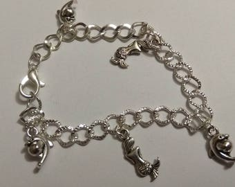 Silver Mermaid and Dolphin charms bracelet