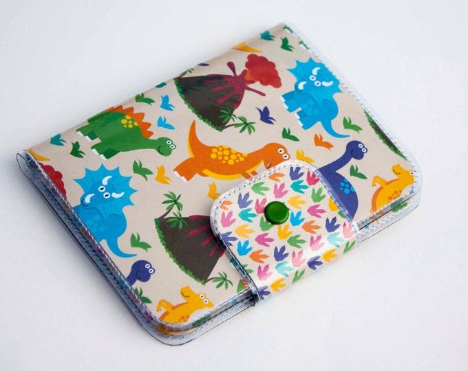 Handmade Vinyl Passport Case - Dino4 / traveller, passport, vinyl, gift, kids, childrens, dinosaur, dino, cute, volcano, kids accessories