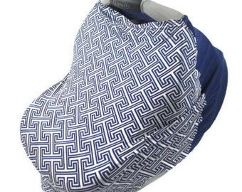 blue stretchy car seat, boy nursing cover, car seat cover, infant car seat cover, stretchy carseat cover, nursing covers, baby shower gift
