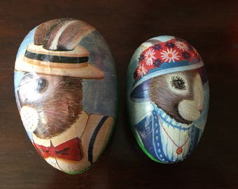 Pair Paper Mache Mr. & Mrs. Easter Bunny Rabbit Eggs West Germany