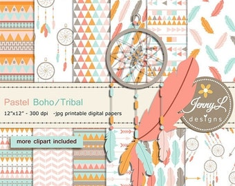 50% OFF Pastel Boho digital papers and Feather Dream Catcher clipart SET, arrows for Digital Scrapbooking, wedding, birthday invitations Pla