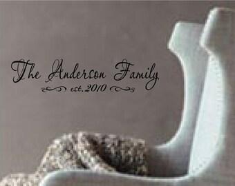 Custom Family name with Established date...vinyl lettering..