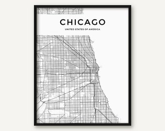 Chicago Map Print, Chicago Print, Black and White Chicago Wall Art, Chicago Poster, Map of Chicago, City Map, Street Map, Chicago Decor