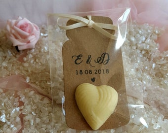 Personalised Wedding Favour White Chocolate Hearts, Party Favors