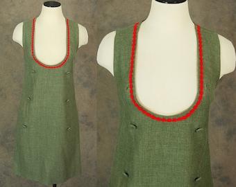 Vintage 60er Jahre Pullover Kleid - 1960er Jahre Mod grün Wolle Pinafore Shift Kleid Sz S
