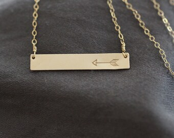 simple gold necklace, delicate necklace, gold bar necklace, arrow necklace, arrow bar gold silver love gift for her, wedding necklace