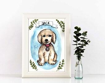 Custom pet portrait, Custom pet illustration, watercolor custom portrait