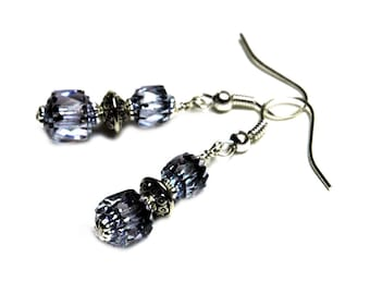 Lilac Blue Beaded Drop Earrings, Czech Glass Beads in Pale Blue with Silver,Bridesmaid Jewelry