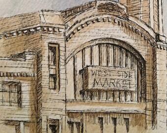 Historic Cleveland West Side Market- Original Watercolor Painting Print- Rust Belt Architecture