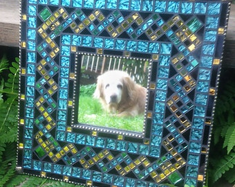 Teal and Gold Mosaic Mirror