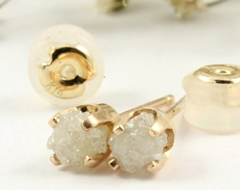 APRIL BIRTHSTONE - Rough Diamonds in 14K Yellow Gold Studs - White Raw Uncut Diamonds - Gold Post Earrings - Ear Studs