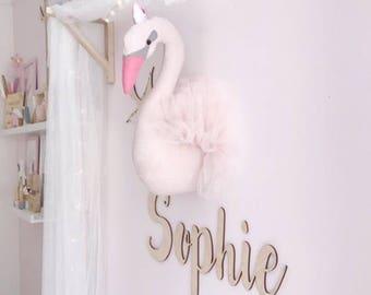Princess Swan Faux Taxidermy, Fabric Wall Mounted Animal Head, nursery wall decor, kids room, Swan Bust, Swan Taxidermy