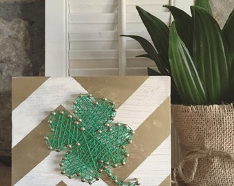 Lucky Little Four Leaf Clover String Art on Gold & White Chevron Painted Wood, Clover String Art, 4 Leaf Clover String Art, St Patricks Day