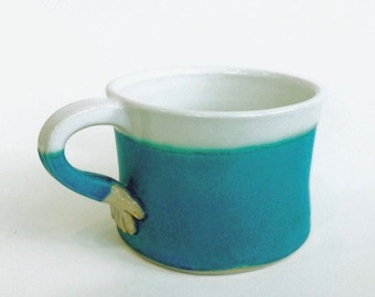 Hand Thrown Pottery Cup Turquoise. Coffee/tea cup. In stock