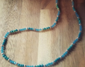 unique hand made blue jade and turquoise gem stone necklace