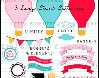 Hot Air Balloons clipart with bright colors Up, Up, and Away, INSTANT Download