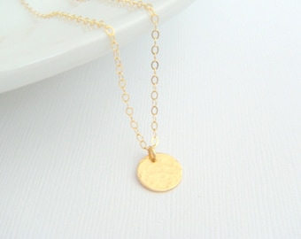 """tiny gold necklace. small hammered circle disc. 14k gold filled. 14 k simple everyday jewelry. dainty delicate pendant gift for her 3/8"""""""