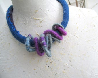 Felt Necklace, Felted Collar, Felted Necklace Sapphire, Felted Necklace, Mixed Media, Wool Necklace, Braided wrapped necklace