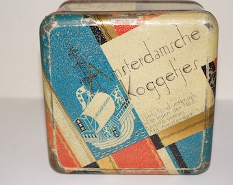 Old tin box Amsterdam biscuit tin with pictures of the city of Amsterdam