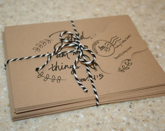 "Encouragement Set: 8 hand-lettered brown kraft encouragement notecards with envelopes (4.25"" x 5.5"")"