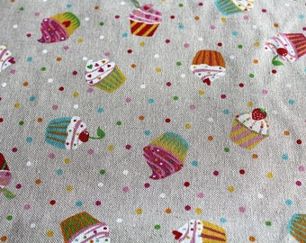Fabric upholstery 50 x 69 cm cupcakes