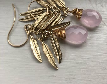 Pink chalcedony with feathers earrings
