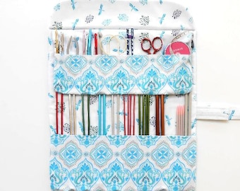 Blue Dragonflies Knitting Needle Roll Up, Holder For Crochet Hooks and Double Pointed Needles, Needle Case, Hook Storage, DPN Organizer