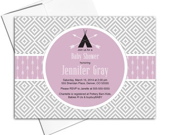 Girl baby shower invitation, purple and gray baby shower invites with arrows, teepee and aztec print - PRINTED - WLP00702