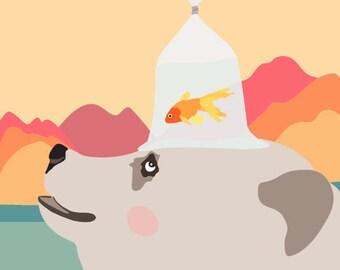 Life is a balancing act - bear and goldfish art print, whimsical art, Nursery art print