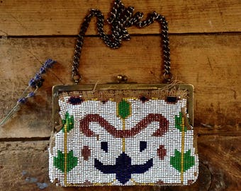 antique beaded purse / victorian beaded clutch / antique purse