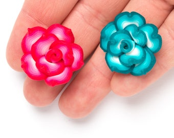 Large Polymer Clay Flowers, 7 Flower Beads, Statement Beads, Ploymer Clay Flowers