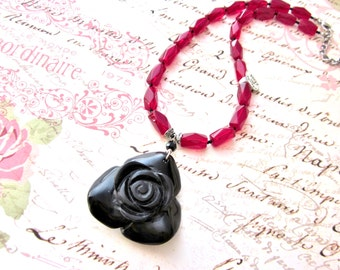 Black Rose Pendant Necklace, ONYX Carved Rose Gemstone Necklace, Red and Black Necklace, Chunky Gemstone Necklace, Rose Jewelry, On Sale!