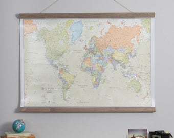Classic World Map - home decor, bedroom, world wall map, living room, wall map, gift for him, gift for her, push pin map, Free Shipping