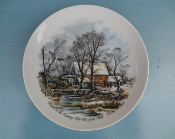 Collectible Currier and Ives Plate -Winter in the Country - The Old Grist Mill
