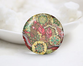 Handmade Round Floral Photo Glass Cabochons (P3738)