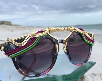 New Style / Retro Rainbow New Unisex SunGlasses Women / Copper Gold Wire Wrapped Glasses / Urban Bohemian Chic Sun Glasses Eyewear Glasses