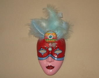 Mask, Marti Gras, Indian motif, red, pink, blue, feathers, beads, paper mache.   by jewellgem on etsy