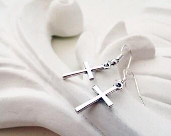 Silver Cross Earrings | Religious Earrings