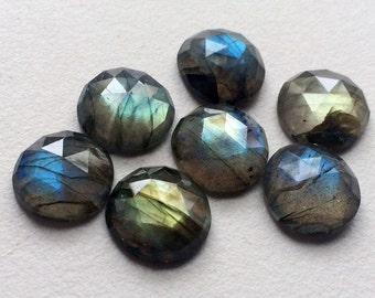 Labradorite Rose Cut Round Cabochons, Labradorite Flat Back Cabochons, Faceted Round Cabs, 14mm, 1 Pc - KS79