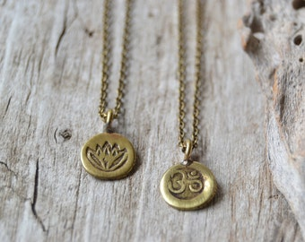 Tiny om and lotus necklace, lotus yoga jewelry, gift for her, brass om necklace, spiritual jewelry, Valentine's gift
