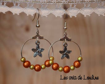 Orange and yellow hoop earrings