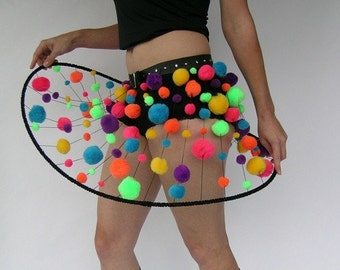 "Psychedelic galaxy skirt with studded belt - Made to Order (35"" waist ready to ship)"