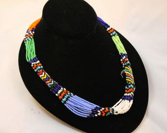 Colorful Beaded African Tribal Vintage Multistrand Necklace