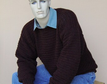 Mens Sweaters, Men's Wool Sweater, Wool Sweater, Pullover, Jumper, Brown Sweater, Crewneck Sweater, Gift for Him, Available in L/XL