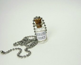 Emergency Vodka 1ml Glass Bottle Necklace Charm - Cork Vial Pendant - Vodka Liquor Alcohol