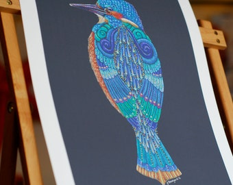 Kingfisher print, Kingfisher Art, Kingfisher Art Pint, Colourful Kingfisher print, Kingfisher Totem print, Kingfisher Spirit Animal Print
