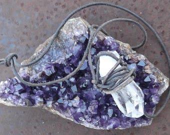 Large Handmade Natural Quartz Crystal Necklace on Primitive Leather Cord